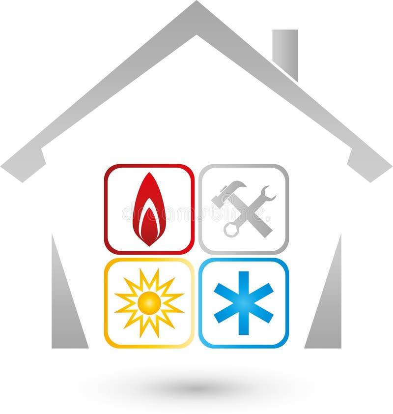 Dom, słońce, śnieg, płomień, powietrza uwarunkowywać i installer logo, royalty ilustracja