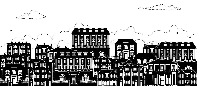 Dom sylwetek rzędu Wiktoriańska Gruzińska ulica ilustracji