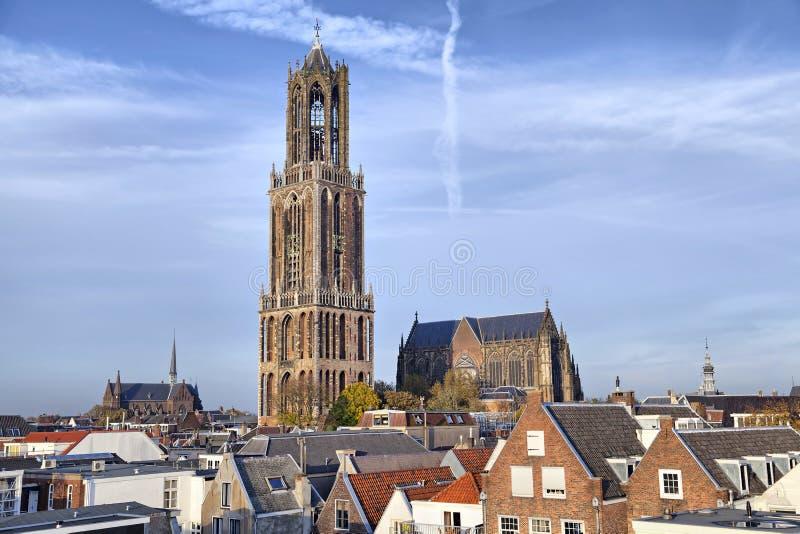 Dom Tower van St Martin Kathedraal in Utrecht stock foto's