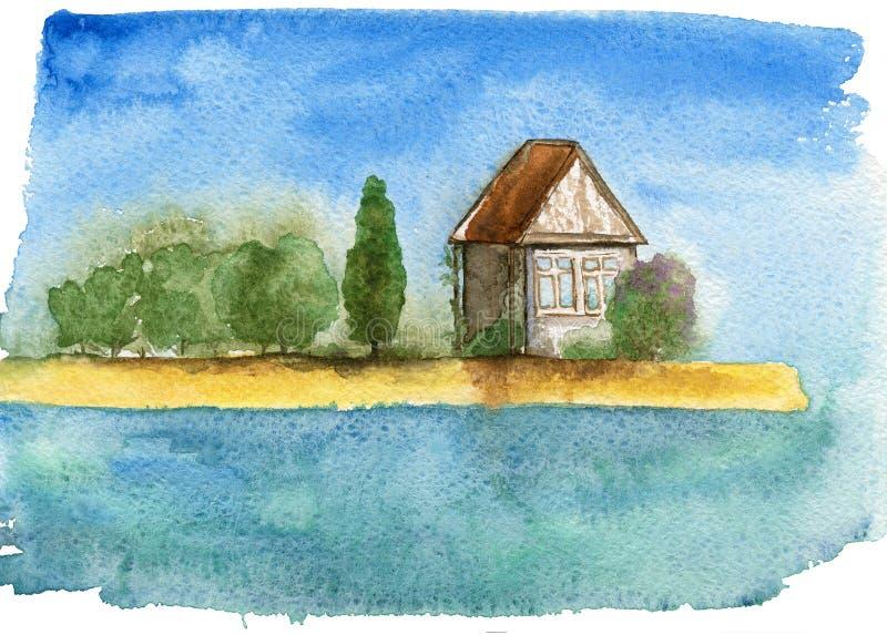 Dom wśród zieleni na dennym wybrzeżu ilustracja wektor