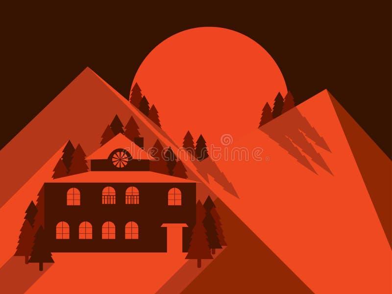 Dom w górach jest płaskim stylem Góra krajobrazu świt hotel osamotniony wektor ilustracja wektor