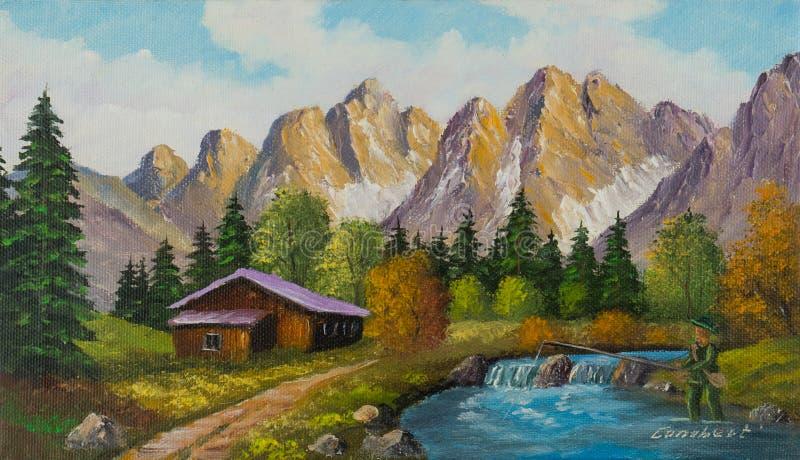 Dom w górach obok halnego strumienia ilustracji