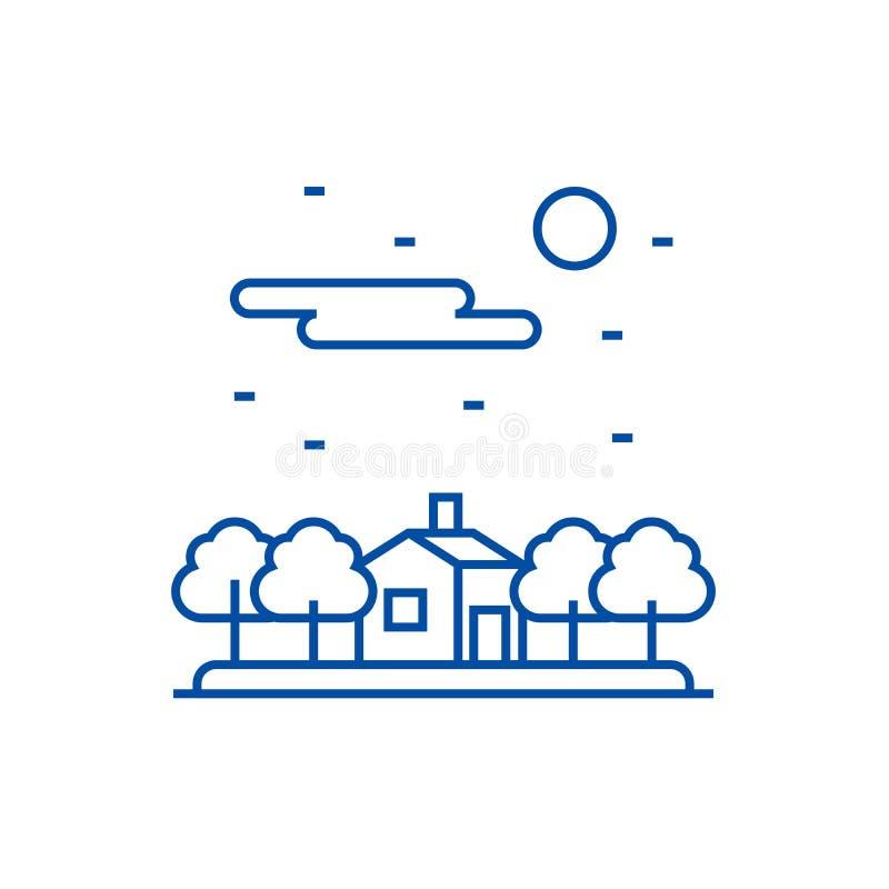 Dom w las linii ikony pojęciu Dom w lasowym płaskim wektorowym symbolu, znak, kontur ilustracja ilustracja wektor