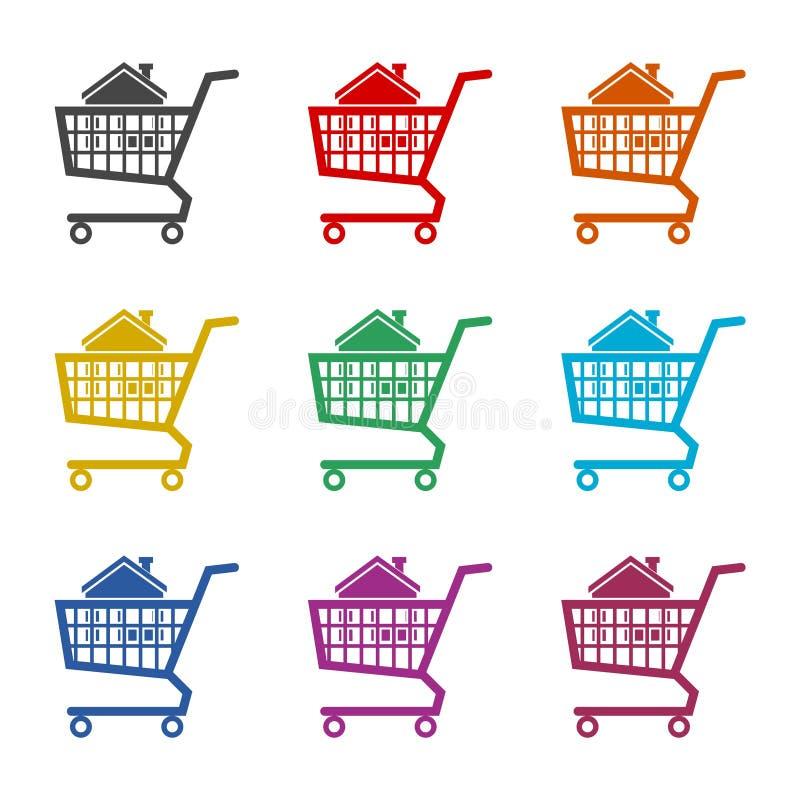 Dom w wózek na zakupy ikonie, kolor ikony ustawiać royalty ilustracja