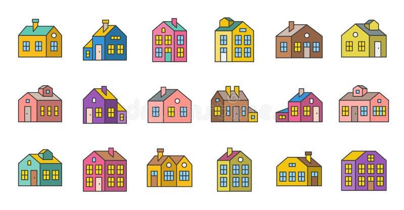 Dom wypełniająca kontur wektorowa ikona, piksel doskonalić royalty ilustracja