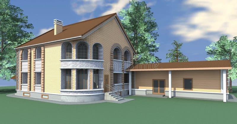 Dom z annexe ilustracja wektor