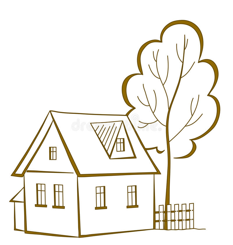 Dom z drzewem, piktogram ilustracji