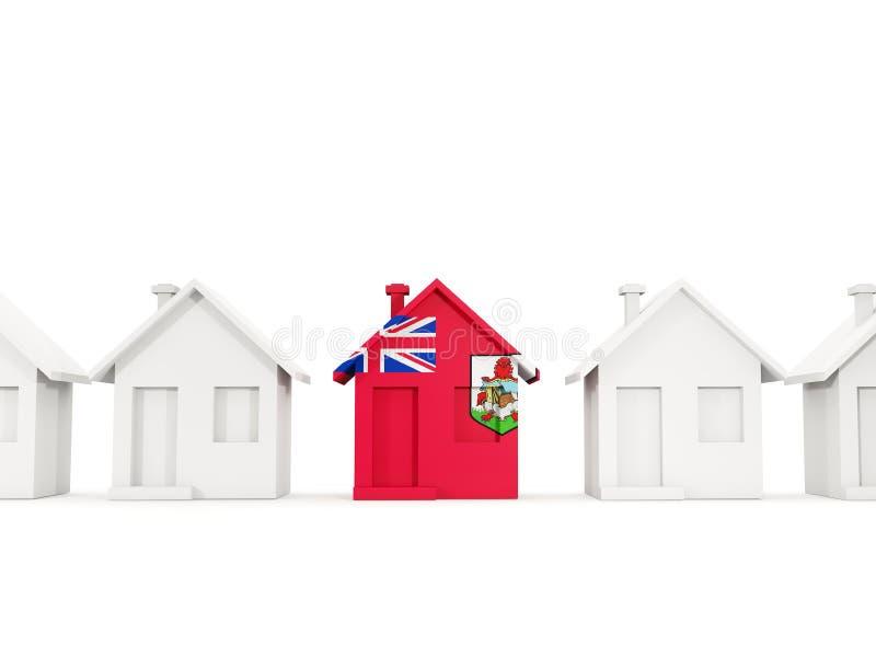Dom z flagą Bermuda royalty ilustracja