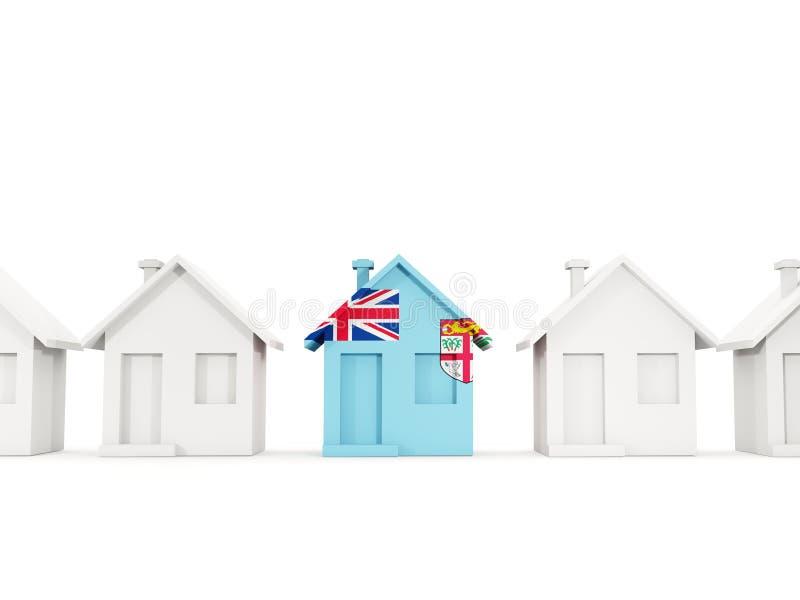 Dom z flagą Fiji ilustracja wektor