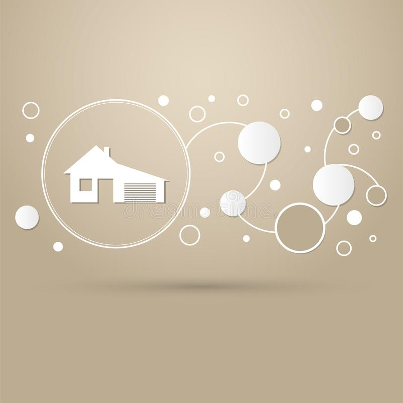 Dom z garaż ikoną na brown tła eleganckim stylu infographic nowożytnym projekcie i royalty ilustracja