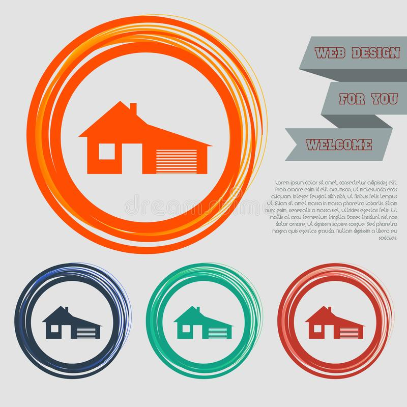 Dom z garaż ikoną na guzikach dla twój strony internetowej i projekta astronautycznym tekscie czerwonych, błękitnych, zielonych,  ilustracja wektor