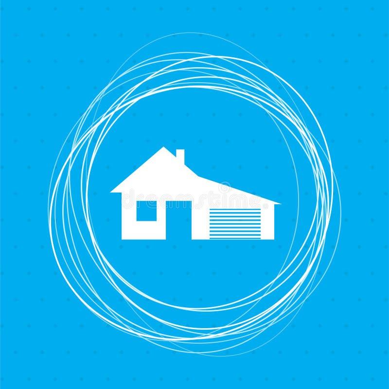 Dom z garaż ikoną na tło abstrakta błękitnych okręgach wokoło i miejsce dla twój teksta ilustracji