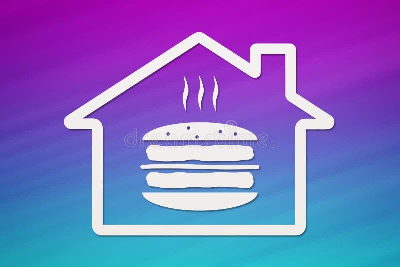 Dom z hamburgerem inside, fastfood pojęcie Abstrakcjonistyczny karmowy konceptualny wizerunek ilustracja wektor