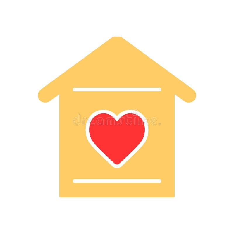 Dom z kierową ikoną prosty koloru dom z kierową wektorową ikoną Na białym tle royalty ilustracja