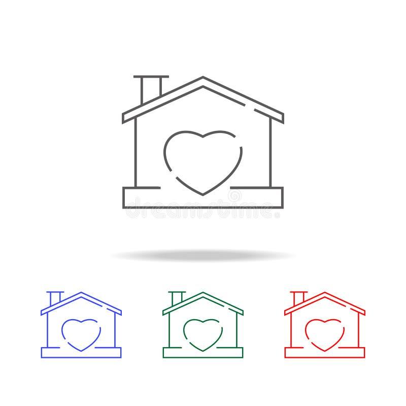 Dom z kierowym kształtem wśród ikony miłość symbolu domowej ilustraci odosobniona ikona Elementy rodzinne wielo- barwione ikony P ilustracja wektor