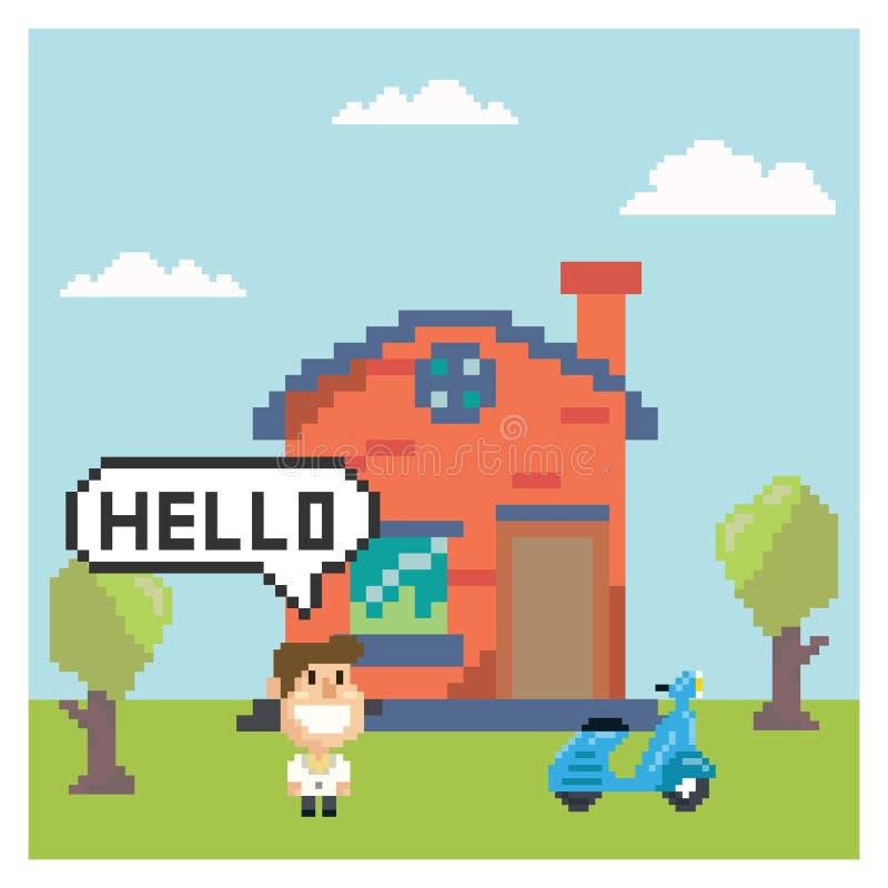 Dom z mężczyzną w piksel sztuce ilustracji
