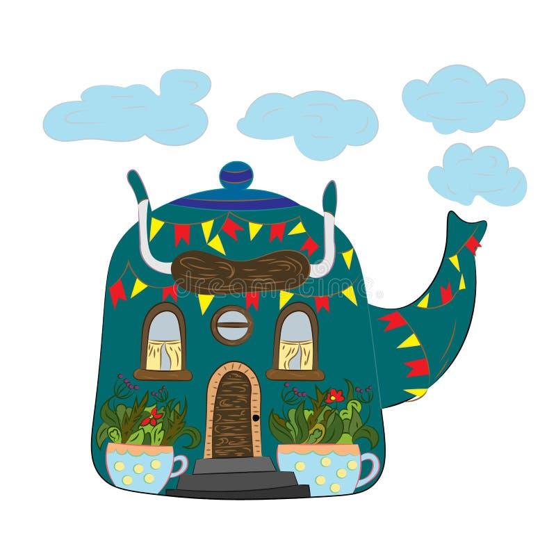 Dom z ogródem w filiżankach ilustracja wektor
