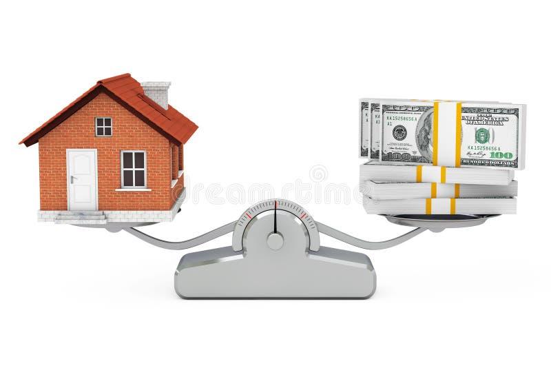 Dom z pieniądze równoważeniem na Prostej Ważącej skala 3D rende royalty ilustracja