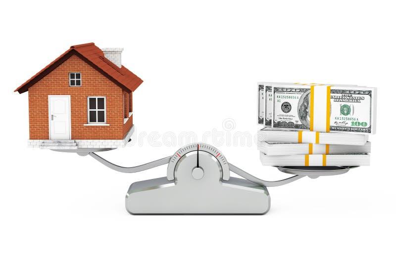 Dom z pieniądze równoważeniem na Prostej Ważącej skala 3D rende ilustracja wektor