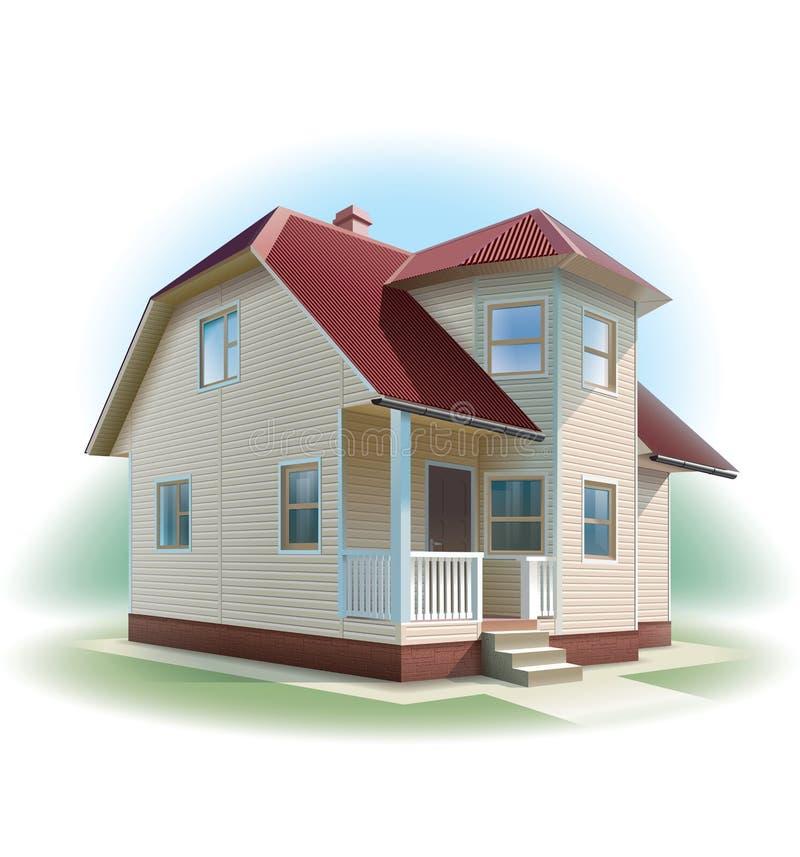 Dom z popierać kogoś podstrzyżenie. Szczegółowa ilustracja. ilustracja wektor