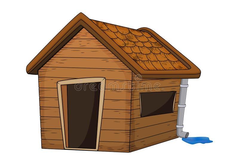 Dom z rynna dachem z podeszczową kałuży kreskówki ilustracją odizolowywającą na białym tle ilustracji