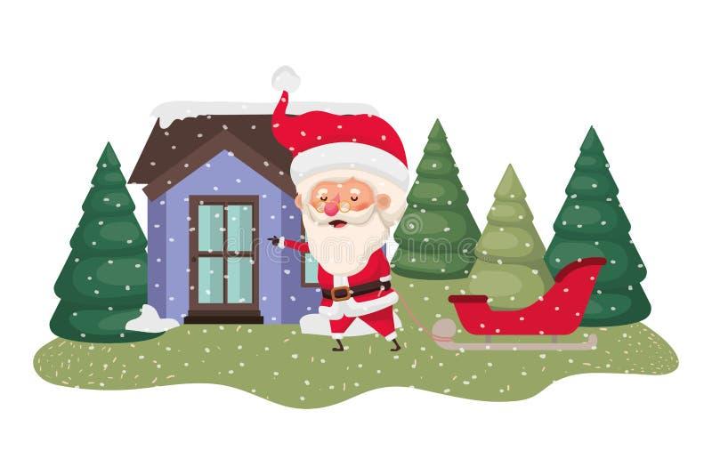 Dom z sosna spada śniegiem Claus, Santa i ilustracja wektor