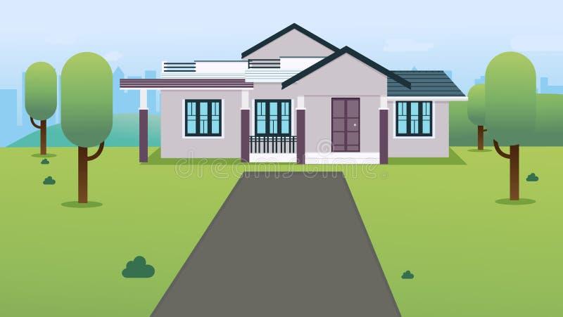 Dom z zieloną trawą, drzewami, wzgórzami i pejzażu miejskiego wektoru ilustracją, Mieszkanie domu projekt z ogródem w miasteczku ilustracja wektor