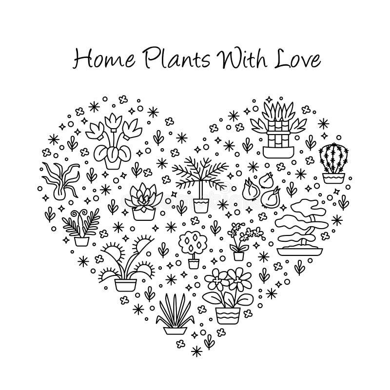 Dom zasadza pojęcie dla ogrodowego centrum, kwiatu & kwiaciarni sklepu, wewnątrz ilustracji