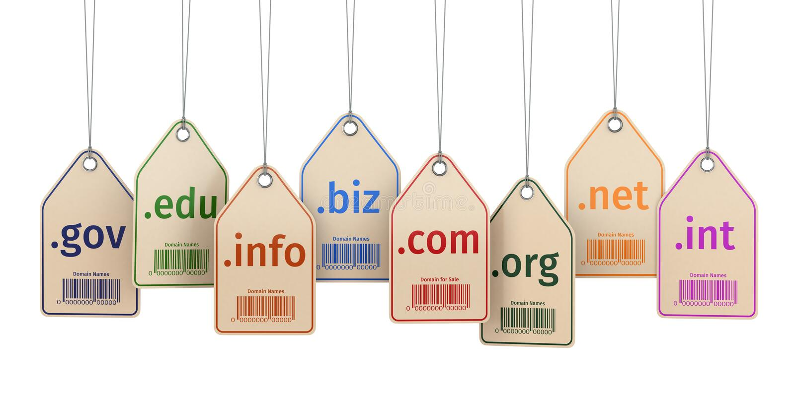 Download Domain Concept. Labels On White Isolated Background. Stock Illustration - Image: 43328275