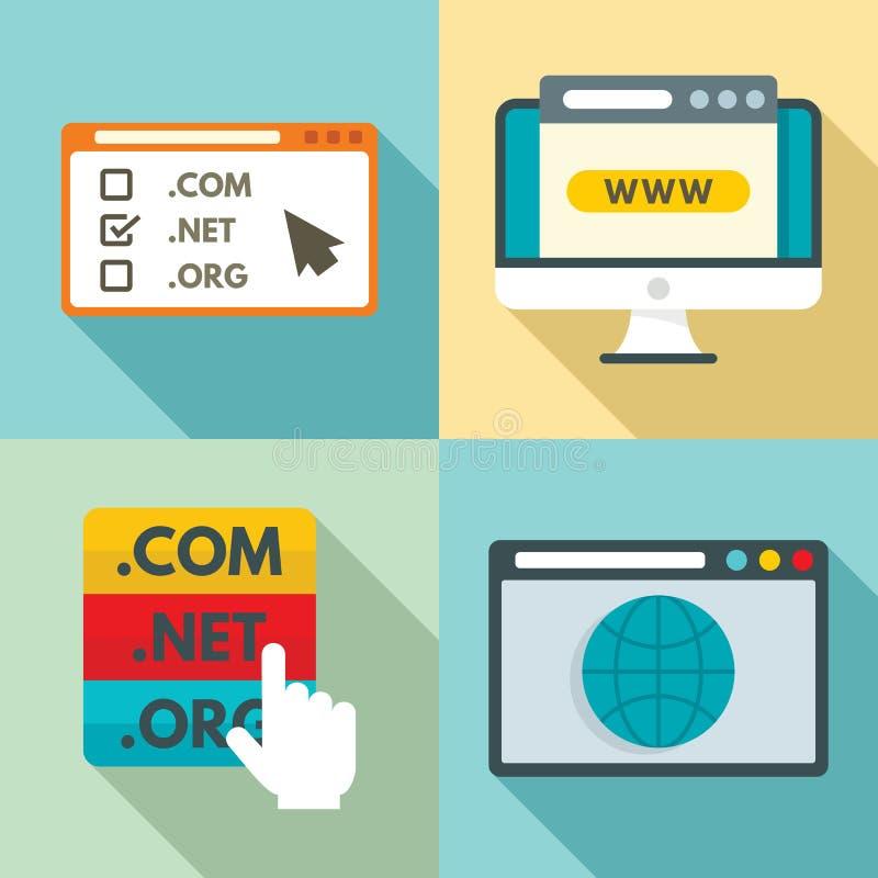 Domain icons set, flat style royalty free illustration