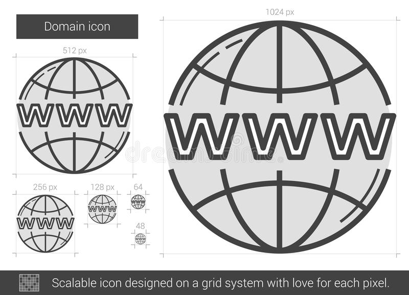 Domain line icon. Domain vector line icon isolated on white background. Domain line icon for infographic, website or app. Scalable icon designed on a grid vector illustration
