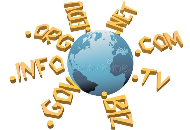 Domain Name di WWW del Internet del URL del livello superiore del mondo illustrazione vettoriale