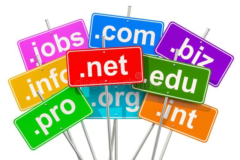 Domain Name e concetto di Internet, rappresentazione 3D illustrazione vettoriale