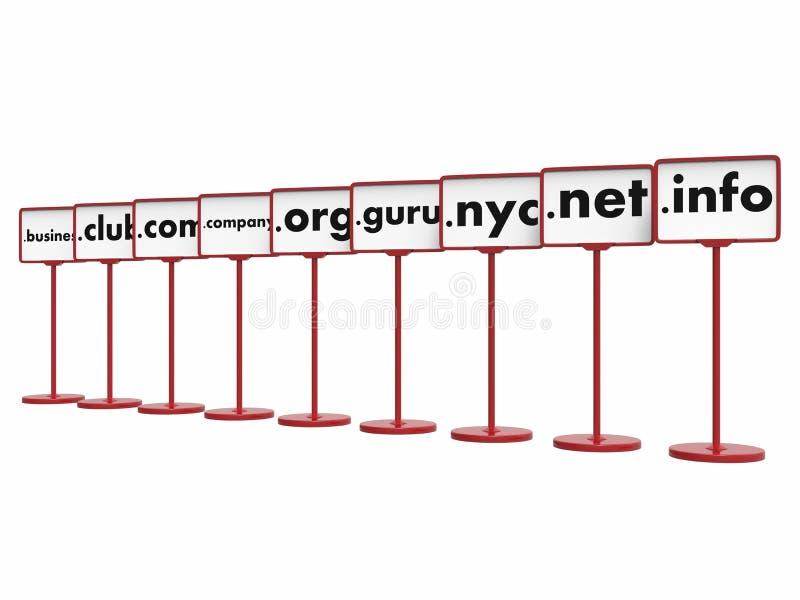 Domain Name populares, concepto de Internet fotos de archivo