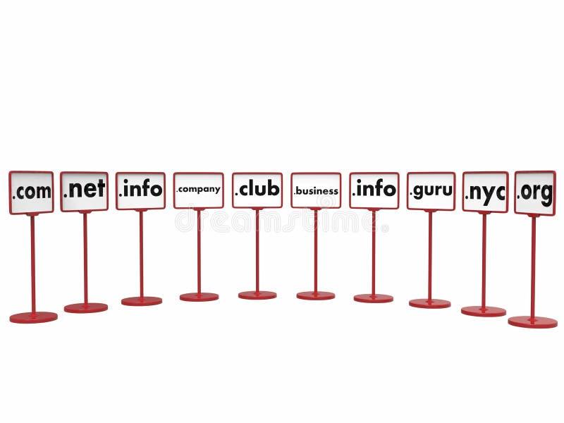 Domain Name populares, concepto de Internet imagen de archivo