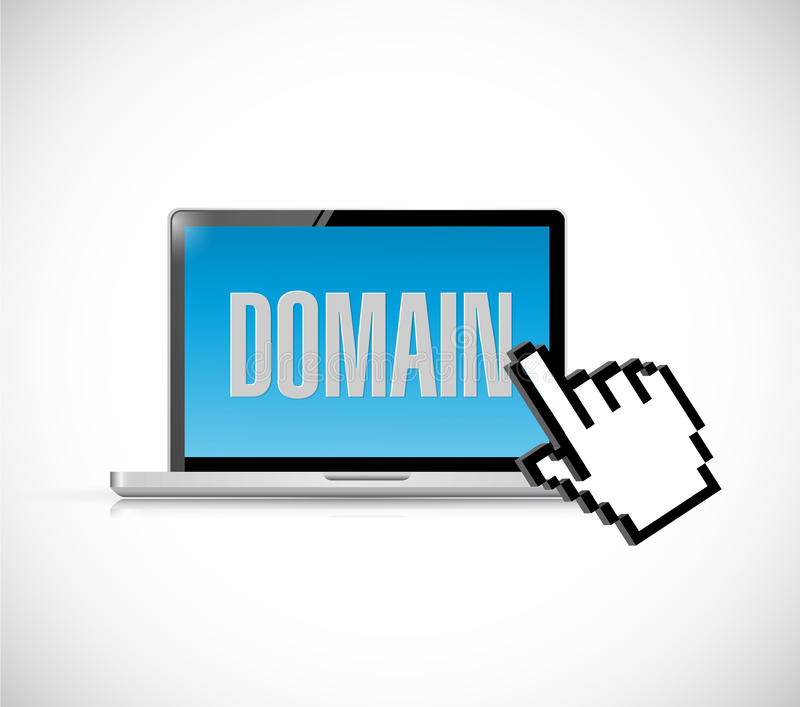 domain sign computer and cursor stock images