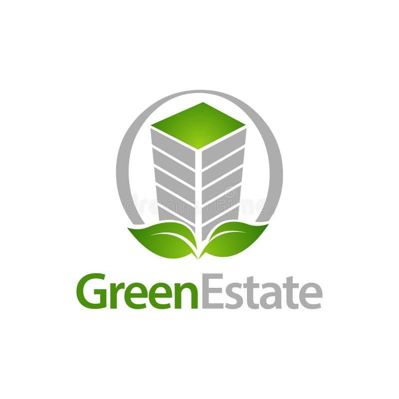 Domaine vert Bâtiment de cercle avec le calibre de conception de l'avant-projet de logo d'icône de feuille illustration stock