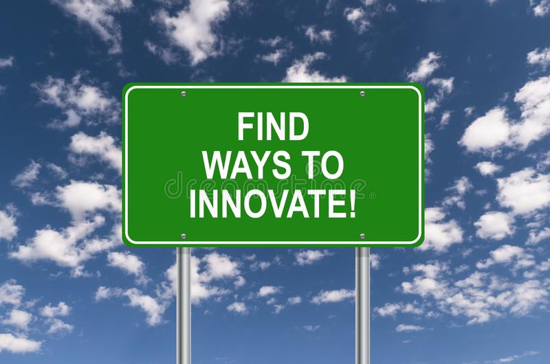 Five ways to innovate sign. Against blue sky vector illustration