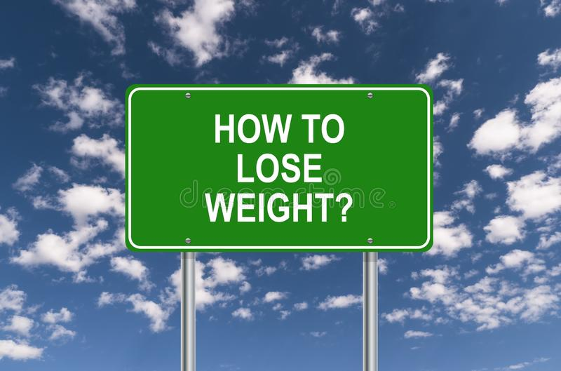 How to lose weight road sign. Against blue sky vector illustration