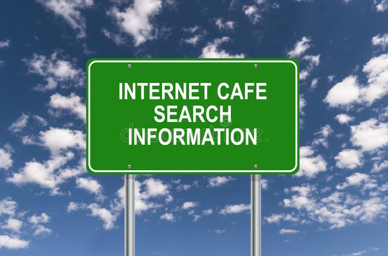 Internet cafe search information. Sign against blue sky royalty free stock photography