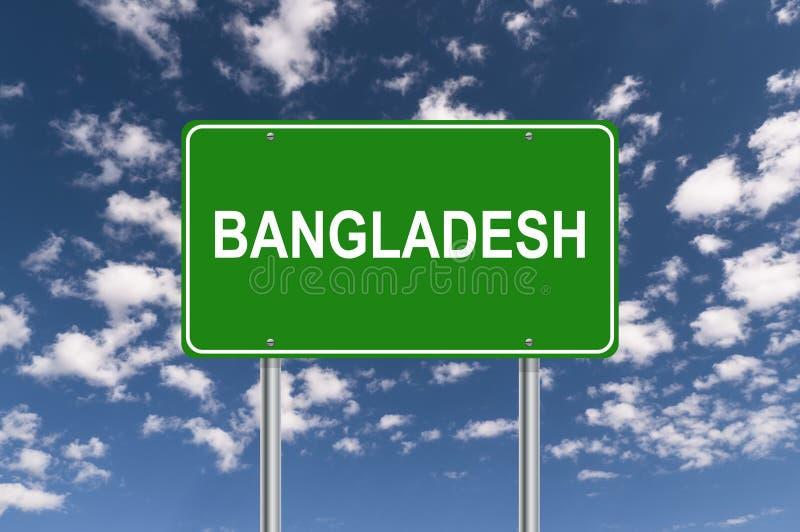 Bangladesh road sign. Against blue sky stock illustration