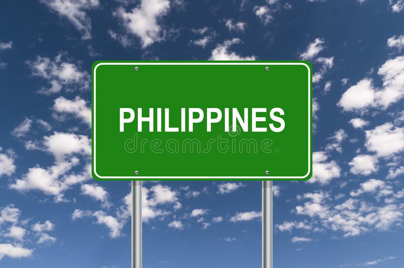 Philippines signpost. Against blue sky stock illustration