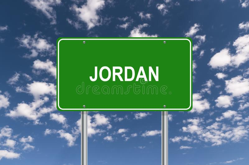 Green Jordan Sign. A green Jordan sign surrounded by a blue sky with fluffy, white clouds vector illustration