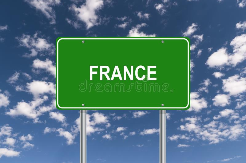 Green france traffic sign. With blue sky royalty free stock images