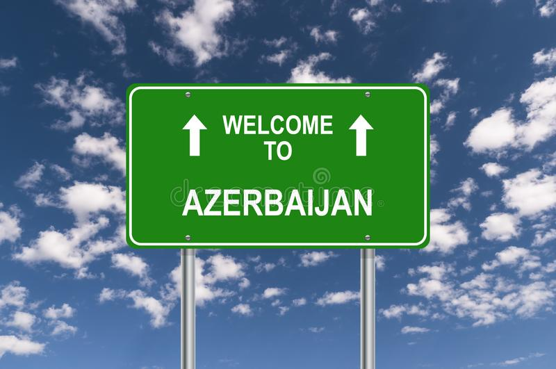 Welcome to azerbaijan. Traffic sign stock illustration