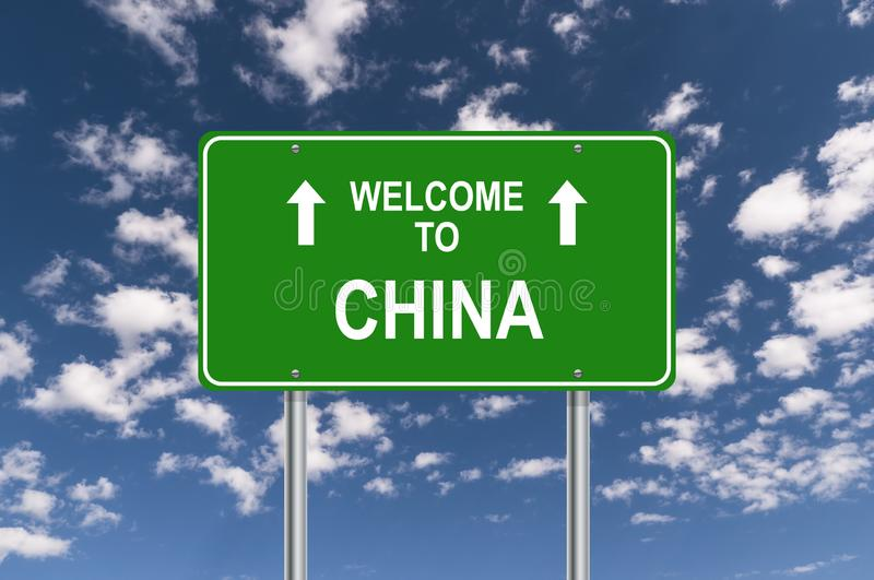 Welcome to china. Traffic sign stock illustration