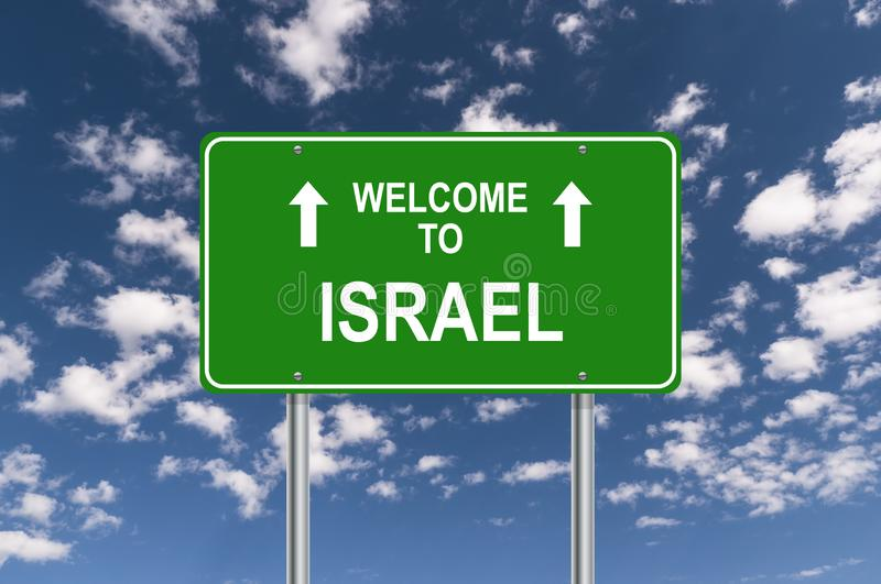 Welcome to israel. Traffic sign royalty free illustration