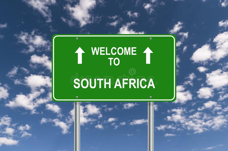 Welcome to south africa. Traffic sign stock illustration