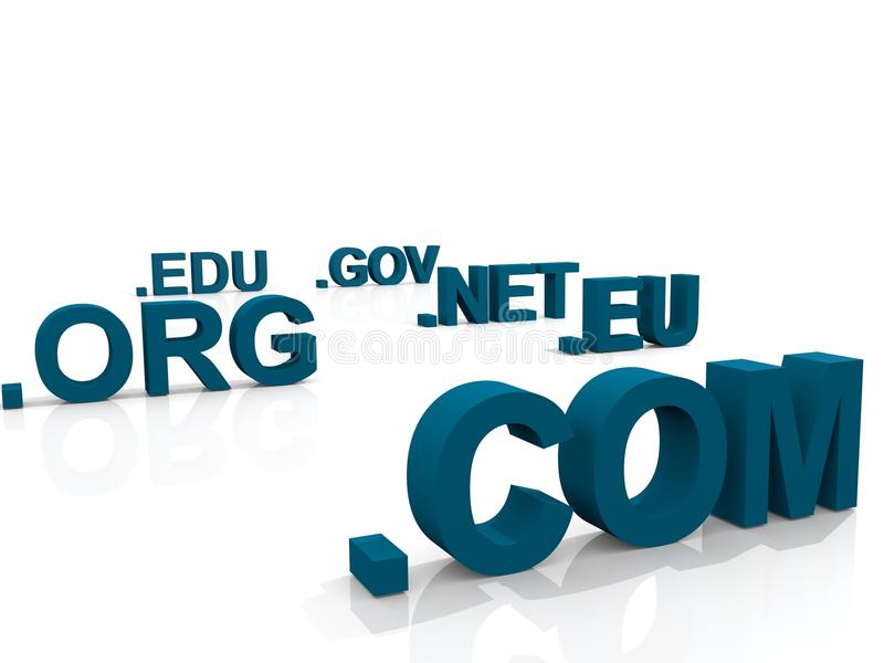 Domains. Top level Domains over white Background royalty free illustration