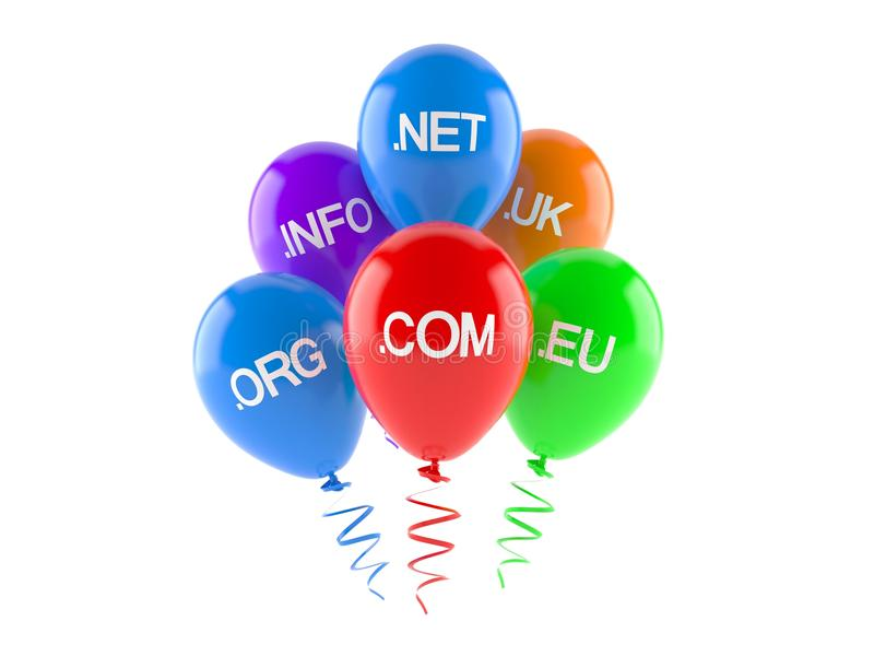 Domains with balloons vector illustration